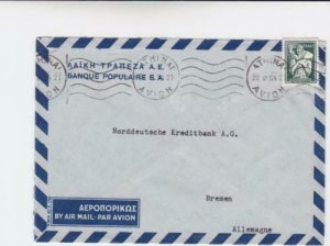Greece 1954  bank populaire  airmail stamps cover to bremen germany  r19732
