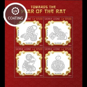 SIERRA LEONE - 2019 - Towards the Year of the Rat 2020 - Perf 4v Sheet - MNH