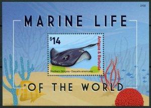 Antigua & Barbuda Fish Stamps 2021 MNH Marine Life of World Stingray 1v S/S