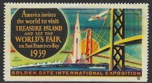 USA 1939 GOLDEN GATE INTERNATIONAL EXPOSITION Treasure Island Label  MNH