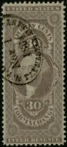 #R51c 30¢ FOREIGN EXCHANGE NEAT 1864 OVAL HANDSTAMP CANCEL XF BP6359
