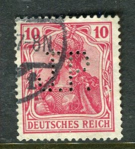 GERMANY; Early 1900s Germania issue fine used value + PERFIN , 10pf.