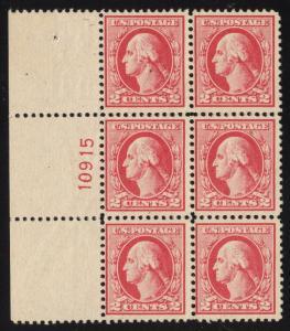 US#526 - 2 Cents, Carmine - Type IV - Plt.# Block of 6 - Mint - O.G.