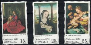 Australia SC688-690 Christmas '78-Virgin&Child Marmon&VanDyck&HolyFamilyDelVega