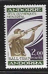 FRENCH ANDORRA 249 MNH TRAPSHOOTER