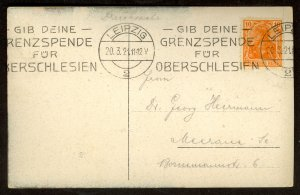 GERMANY 1920 Border Donation Campaign Upper Silesia Slogan on Pic Post Card Used