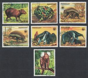 Paraguay WWF Anteater Armadillo Wild Animals 7v CTO SC#2139
