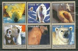 Mozambique MNH 1650A-F Polar Bears SCV 9.00