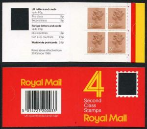 DB16(2)A 1988 52p Type 1A 4x13p Chestnut CB Code F Plain Window Booklet