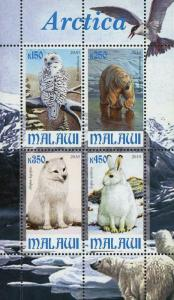 Malawi Arctica Wild Animal Mountain Souvenir Sheet of 4 Stamps Mint NH