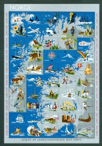 Norway Poster Stamp, Sheet  Mnh. Cancer. Polar Bear, Map,Viking,Ships,Animals