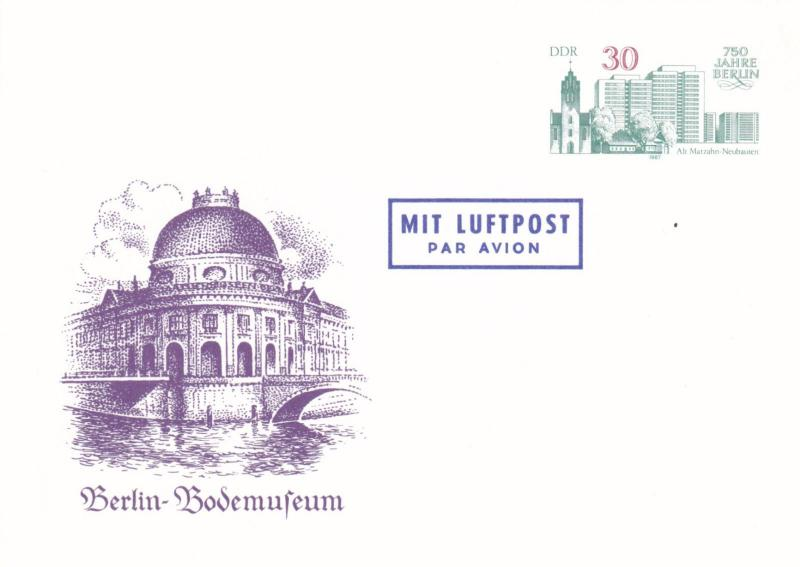 East Germany 1987 Bodem Museum 30pfg Air Mail Prepaid Postcard FDC Unused VGC