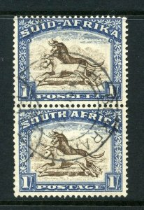South Africa 1933 KGV 1/- vertical pair SG 62 used