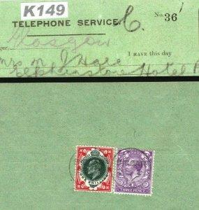 GB SCOTLAND GPO TELEPHONES Receipt 1913 Super Mixed Reigns Franking Biggar K149