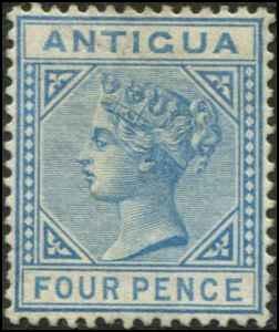 Antigua SC# 15 SG# 23 Victoria 4d wmk 2  mint no gum small dot stain on back
