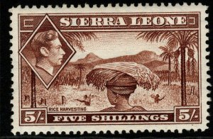 SIERRA LEONE SG198 1938 5/= RED-BROWN MTD MINT