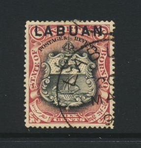 LABUAN NORTH BORNEO 1894, 6c perf 15, VF USED SG#67 (SEE BELOW)