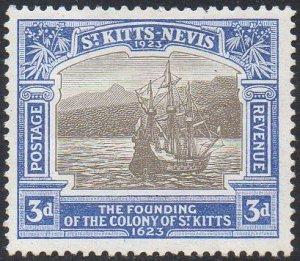 St Kitts-Nevis 1923 3d black and ultramarine (Tercentenary of Colony) MH