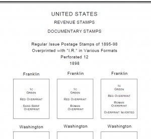 U.S.A. REVENUES STAMP ALBUM PAGES 1862-1995 (297 PDF digital pages)