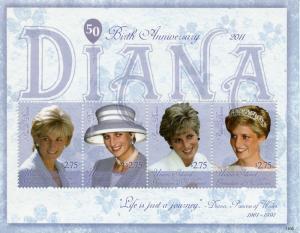 Union Island Grenadines St Vincent Royalty Stamps 2011 MNH Princess Diana 4v M/S