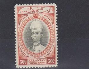 KELANTAN 1937 - 40   S G 51   50C  GREY OLIVE  & ORANGE      MH   CAT £90