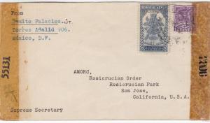 1944, Mexico to San Jose, CA, Censored (C2341)