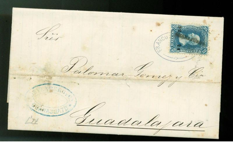 1874  Guanajuato Mexico letter cover guadalajara # 109