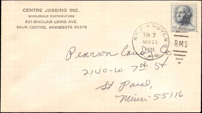 1965 ST. P. & NOYES  RPO RAILROAD POST OFFICE CANCEL