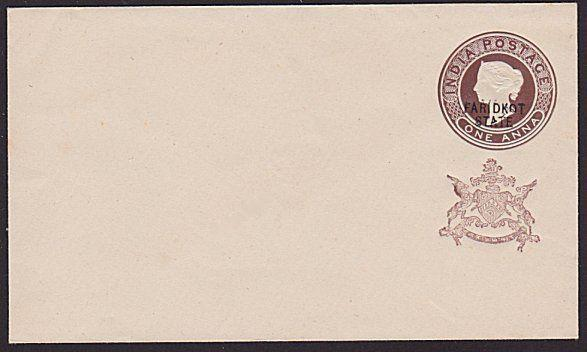 INDIA FARIDKOT QV 1a envelope overprinted in black..........................6125