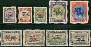 GREENLAND #19-27  Complete set w/Ovpt NH,