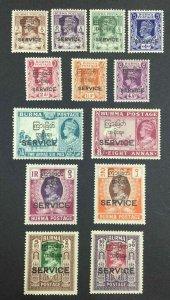 MOMEN: BURMA SG #O41-O53 1947 MINT OG NH £250++ LOT #63421