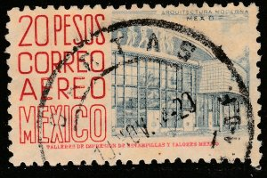 MEXICO C198a $20P 1950 Definitive 1st Ptg wmk the LQ variety.279 Used VF.(119)