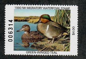NH8 New Hampshire #8 MNH State Waterfowl Duck Stamp - 1990 Green-Winged Teal