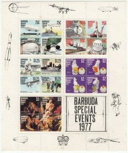 Barbuda; 1977 Special Events Sheetlet, MNH, Aviation, Coronation, Airships