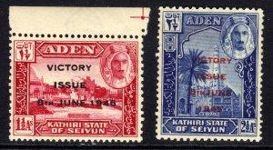 Aden 1946 KGV1 Set Victory State Seiyun Ovpt Umm SG 12 - 13 ( H1370 )