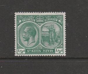 St Kitts Nevis, 1920/22 Crown CA 1/2d Fresh LMM SG 24