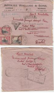 K.U.T.  1941  Mombasa  Cover To India Censored & redirected   63107