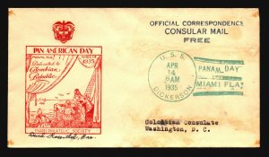 US 1935 USS DICKERSON Cover / Pan AM Day CDS & Cachet - Z18574
