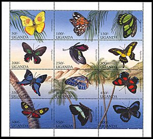 Uganda 1424, MNH, Butterflies miniature sheet of 12
