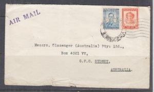 SOUTHERN RHODESIA, c1947 Airmail cover, Bulawayo to Australia, KGVI 9d., QE 6d.