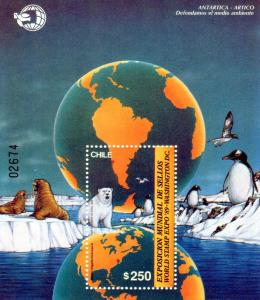 Chile 1989 PENGUINS s/s Numbered Perforated Mint (NH)