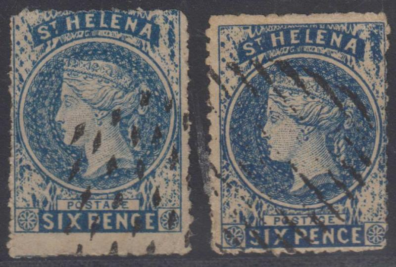 BC SAINT HELENA 1861 QV Sc 2 TWO SPIRO FORGERIES SHADES USED F,VF (CV$650)
