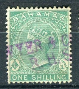 BAHAMAS; 1865- classic QV Crown CC Revenue used Shade of 1s. value