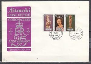 Aitutaki, Scott cat. 166 a-c. 25th Anniversary of Coronation. First day cover. *