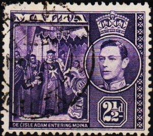 Malta. 1938 2 1/2d S.G.222a Fine Used