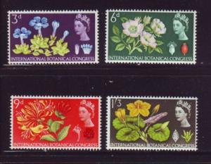 Great Britain Sc 414p-17p 1964 Botanical Congress. Phosphor stamp set mint NH