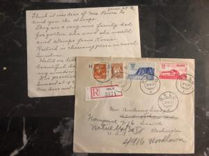 1937 Oslo Norway Cover To Seattle USA Stamps # B3 B4 with leter contents
