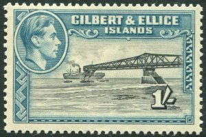GILBERT & ELLICE ISLANDS-1943 1/- Brownish-Black & Turquoise-Blue Sg 51a