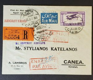 1929 Cairo Egypt to Crete Greece Registered First Flight Air Mail Cover