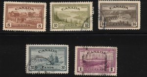 CANADA - 1946 Peace Issue - Used Short Set SC268-271 & SC273